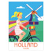 211 ansichtkaart holland blond bike girl with tulips & mill