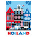 213 ansichtkaart holland canalhouses red white blue