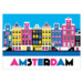 808 ansichtkaart amsterdam colored canal houses
